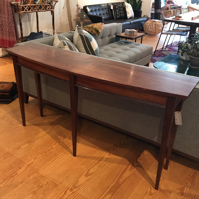 Minimalism Handcrafted Walnut Curved Console Table For Sale - Image 3 of 13