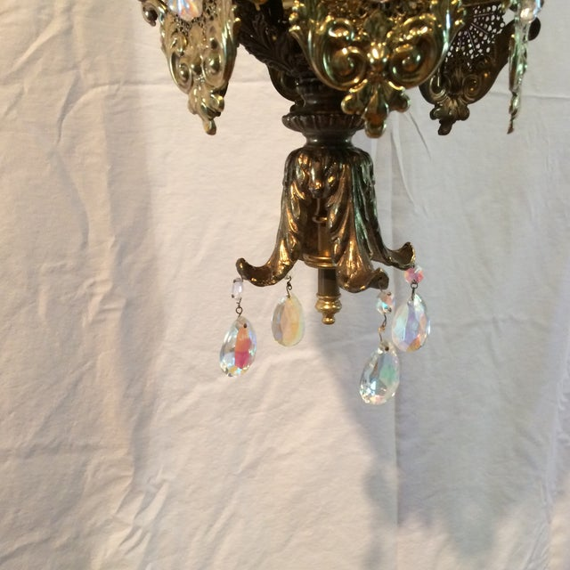 Vintage 60's Brass Filagree With Opalescent Crystals Swag Pendant Light For Sale In Sacramento - Image 6 of 11