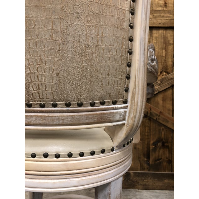 Wood French Country Rustic Antique White Bar Stool For Sale - Image 7 of 9