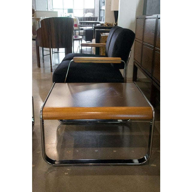 Black Midcentury Chrome and Mohair Loveseat, Chair and Table Set, 1960s For Sale - Image 8 of 11