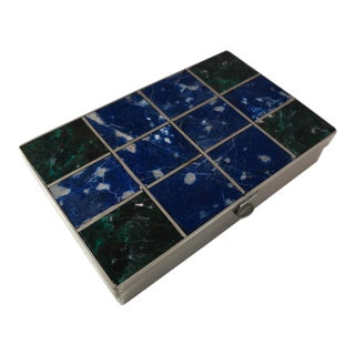 1960s Vintage Lapis Lazuli and Malachite Silver Box For Sale