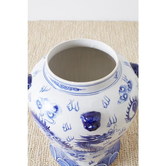 Oversized Chinese Blue and White Porcelain Ginger Jar For Sale - Image 9 of 13