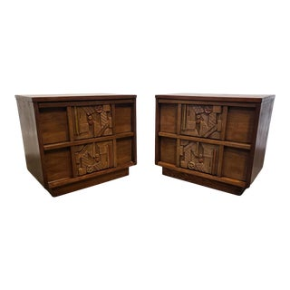 Pair of 1970s Mid-Century Modern Brutalist Pueblo Nightstands by Lane For Sale
