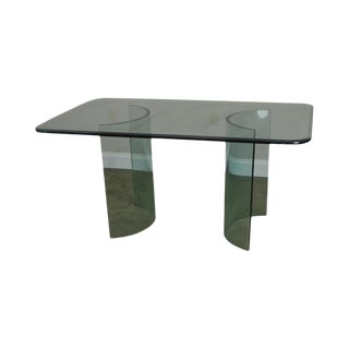 Mid Century Modern Contemporary Glass Dining Table For Sale