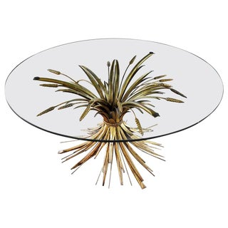 Gilt Metal Sheaf of Wheat Coffee Table With Glass Top Vintage Italian Hollywood Regency For Sale