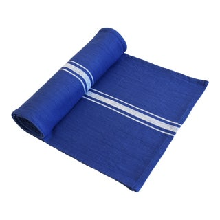 "Farmhouse Royal Blue & White Striped Table Runner 110"" Long For Sale"