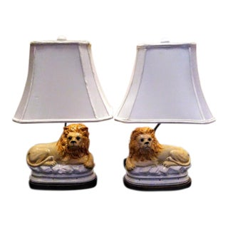 A Pair of Ceramic Mottahedeh Whimsical Perched Lion Table Lamps W/ Shades For Sale