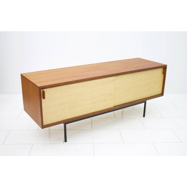 Mid-Century Modern Teak Sideboard With Seagrass Sliding Doors by Dieter Waeckerlin, 1950s For Sale - Image 3 of 8