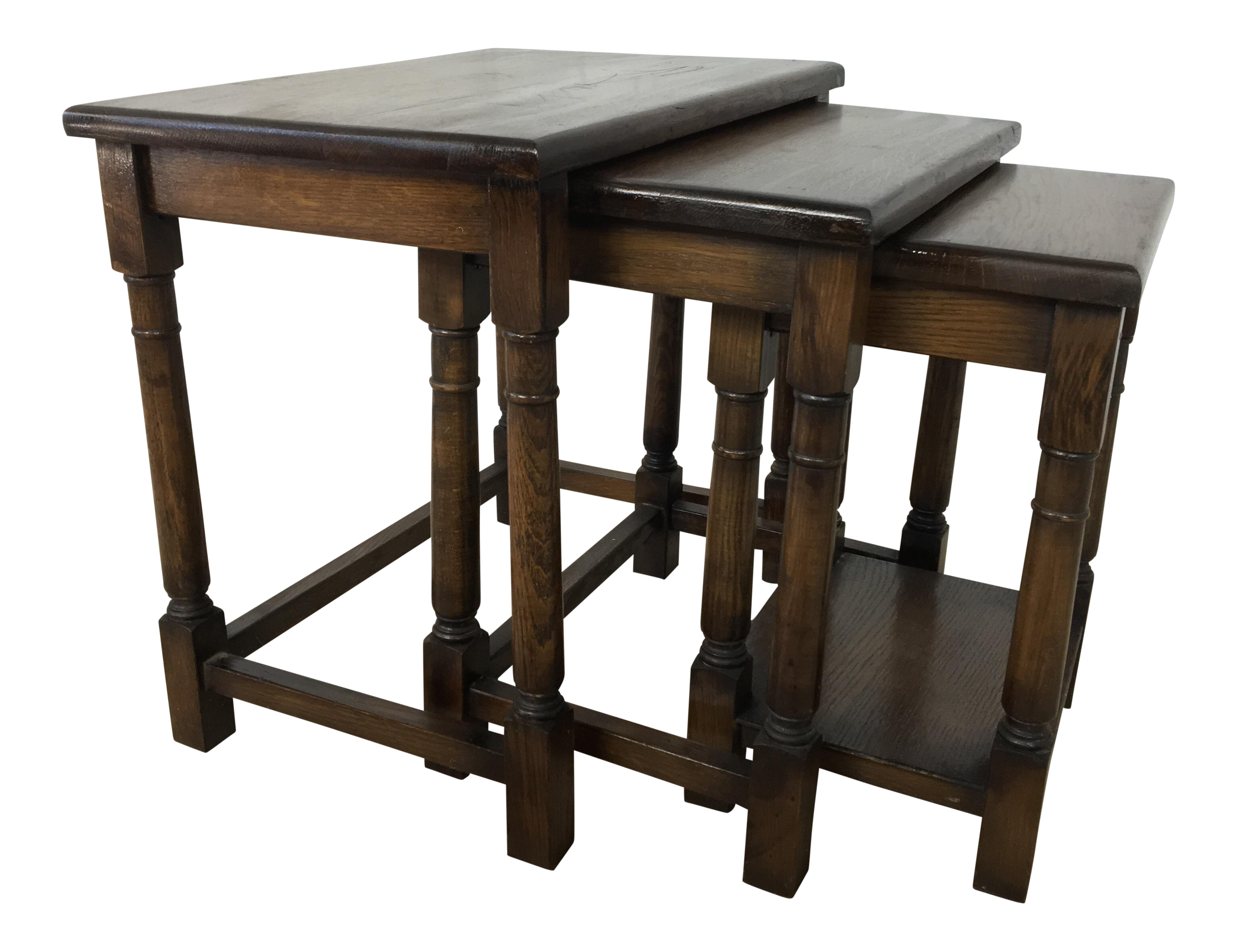 1920s English Oak Nesting Tables   Set Of 3 For Sale