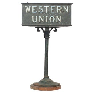 Rustic Western Union Countertop Lamp For Sale