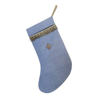 Holiday Appliqued Linen Christmas Stocking For Sale