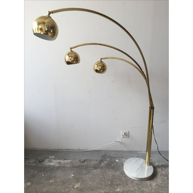 Mid-Century Brass 3 Branch Orb Lamp W/ Marble Base - Image 3 of 10