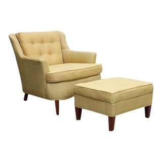 Pair Modern Regency Armchairs with Ottoman