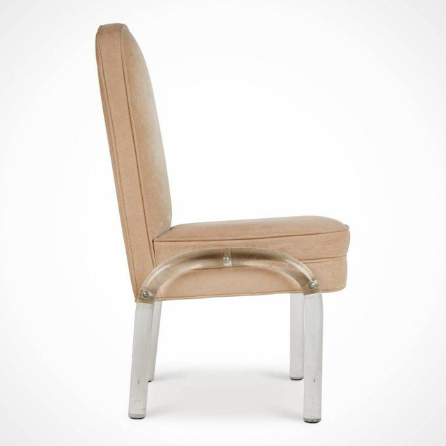 Hill Manufacturing Co. Lucite and Alcantara Dining Chairs, Circa 1970 - Set of 4 For Sale - Image 4 of 8