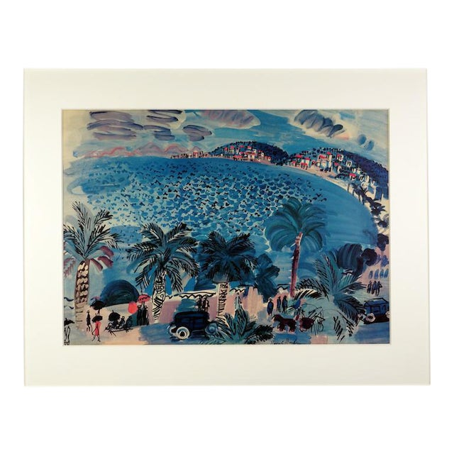 """Raoul Dufy La Promenade des Anglais Lithograph Custom framed in cerused oak with hand cut 4-ply mat Image Width: 24""""..."""