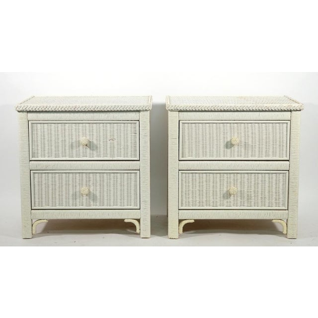 1970s Henry Link Two Drawer Wicker Side Tables - a Pair For Sale - Image 5 of 5