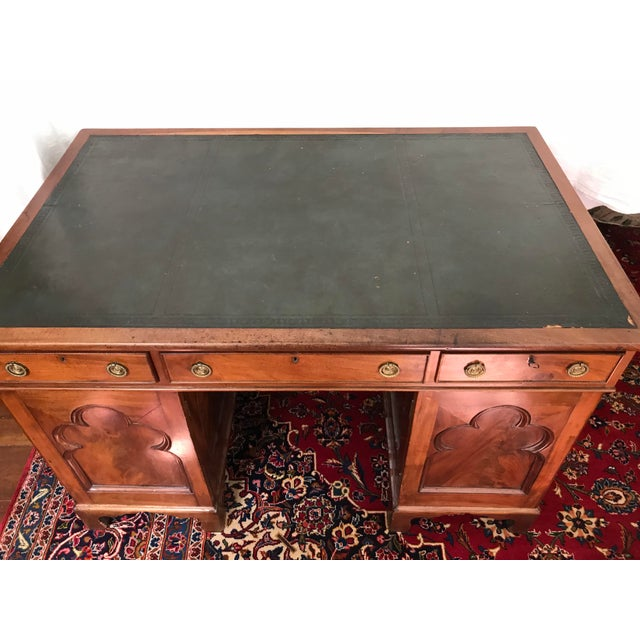 Late 19th Century Antique Gothic Revival Oak Leather Top Partner's Desk For Sale - Image 5 of 12