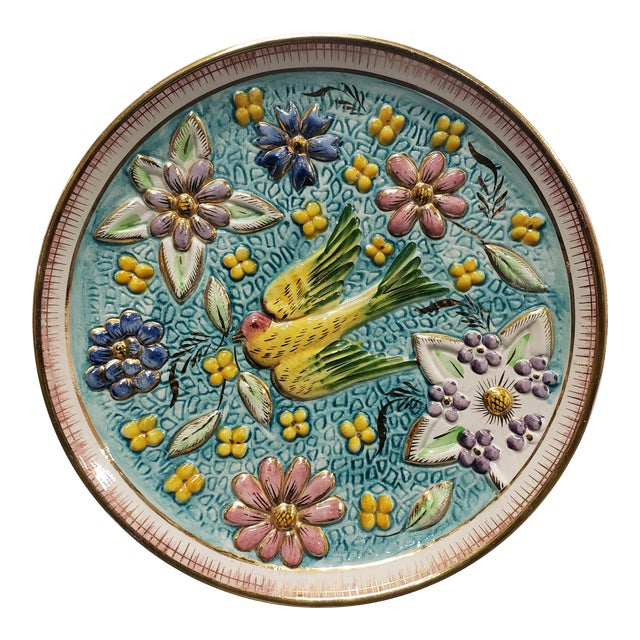 1940's Belgian Henri Bequet Majolica Pottery Raised Relief Bird/Floral Motifs Wall Plate For Sale