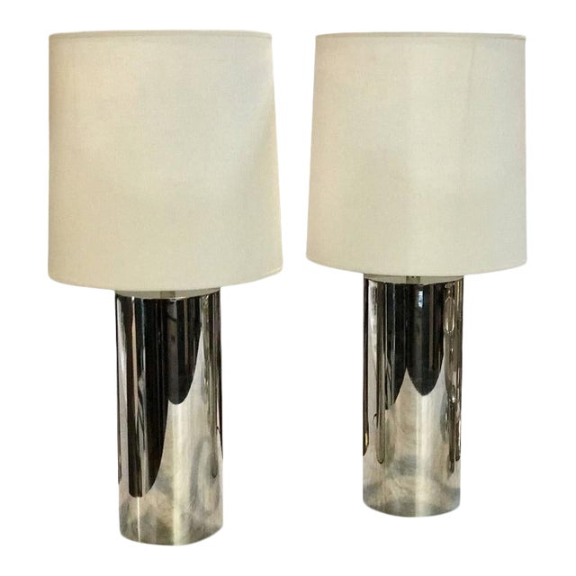 1970s Italian Reggiani Steel Cylinder Lights - a Pair For Sale