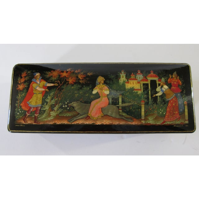 Asian Signed Russian Lacquer Box For Sale - Image 3 of 5