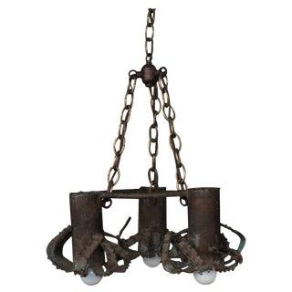 Iron Brutalist Pendant Light, 1970s For Sale