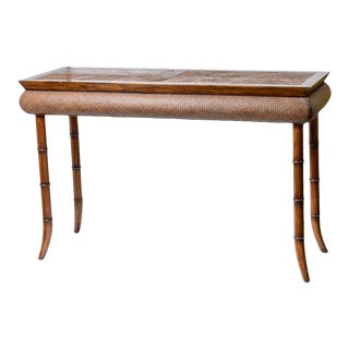 Vintage Woven Rattan & Faux Bamboo Wood Console Table For Sale