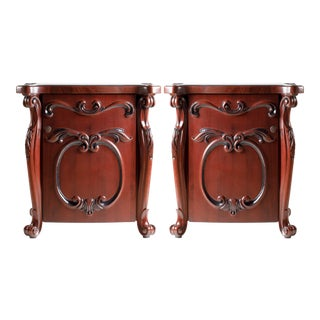 Rococo Style Carved Door Nightstands - A Pair For Sale