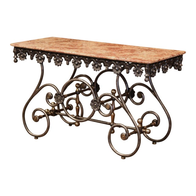 Late 20th Century French Polished Iron Pastry Table With Red Marble Top For Sale