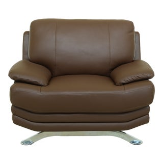 Modern Design Brown Leather Chair W. Chrome Legs For Sale