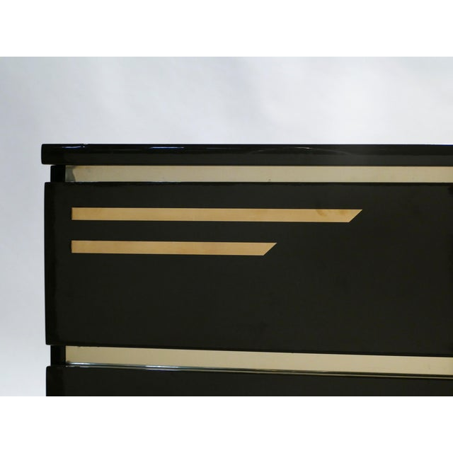 Black Dark Brown Lacquer and Brass Chest of Drawers by j.c. Mahey, 1970s For Sale - Image 8 of 10