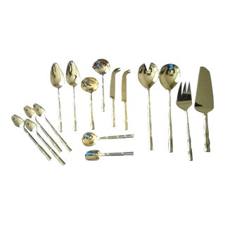 Gold-Plated Bamboo Pattern Serving Set, 16 Pieces For Sale