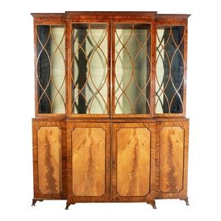 Early 19th Century English Regency Mahogany Breakfront Bookcase For Sale