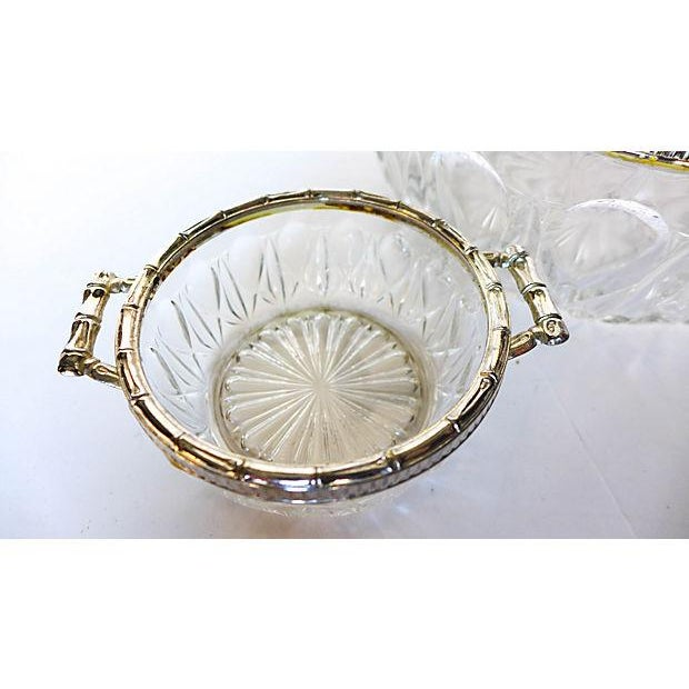 Bamboo Silver-Plate & Pressed Glass Set - Image 3 of 6
