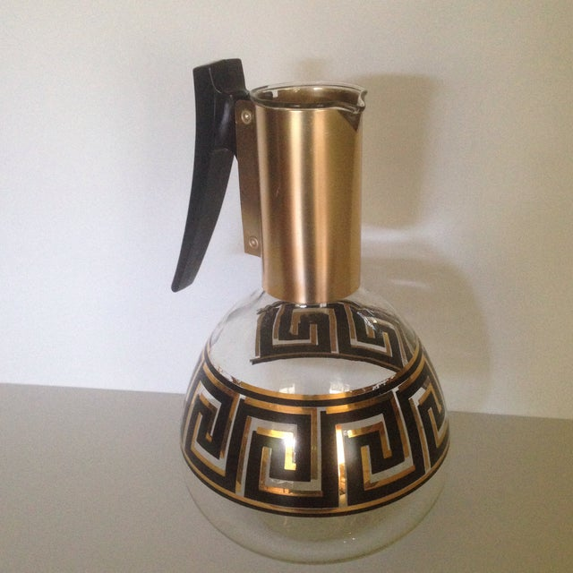 Mid-Century Greek Key Glass Coffee Carafe For Sale - Image 10 of 11