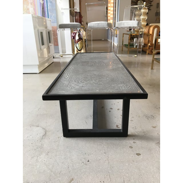 Metal Contemporary Coffee Table With Etched Metal Inlay and Ebonized Wood Frame For Sale - Image 7 of 12