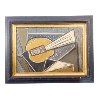 Cubist Portrait of Instrument Oil Painting For Sale