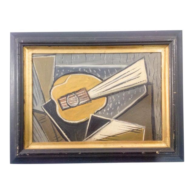 Cubist Portrait of Instrument Oil Painting For Sale