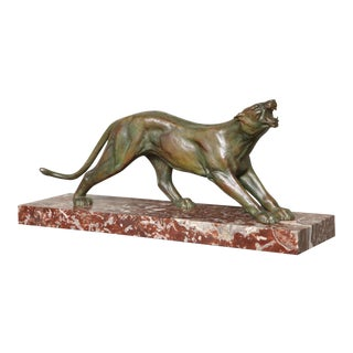 Art Deco Bronze Panther by J. Davergne For Sale