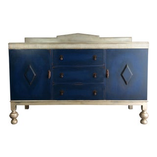 1930s Shabby Chic Blue Buffet/ Liquor Cabinet For Sale