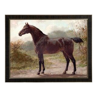 Oldenburger Horse by Eerelman Framed in Italian Wood Vener Moulding For Sale