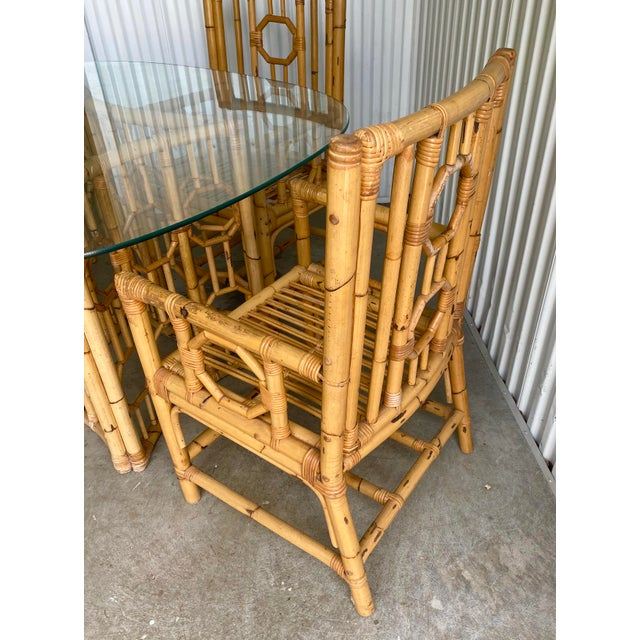 Wood Vintage Medallion Bamboo Dining Table and Chairs - Set of 5 For Sale - Image 7 of 10