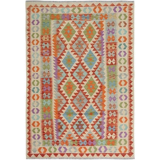 "Hand Knotted Traditional Wool Kilim. 4'11"" X 6'6"" For Sale"