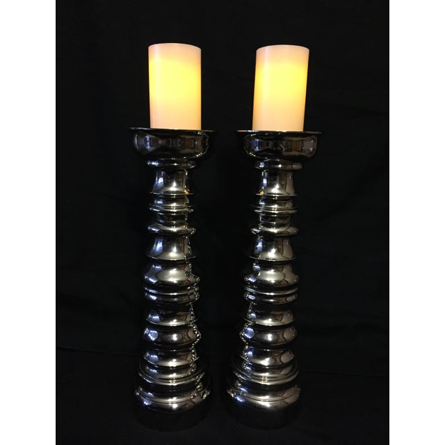 Laura Kirar Nickel Plated Columnar Candle Holders - A Pair - Image 4 of 5