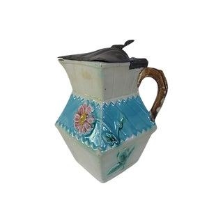 Antique Majolica Syrup Jug W/ Pewter Lid For Sale