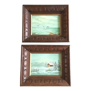 Vintage Seasonal Paintings Signed B. Patton - a Pair For Sale