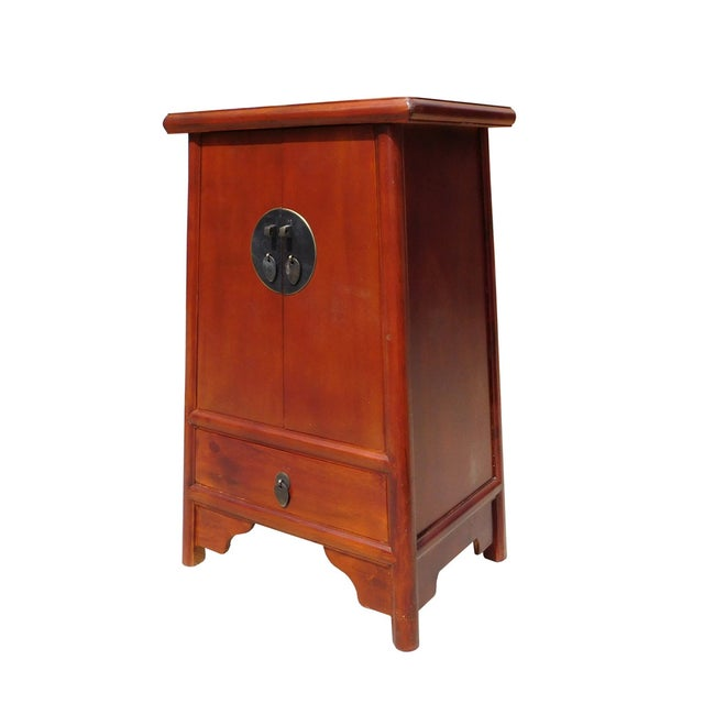Brown Chinese A Shape End Table/Nightstand - Image 4 of 5