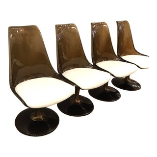 1970's Chromcraft Smoky Lucite Swivel Dining Chairs- Set of 4 For Sale
