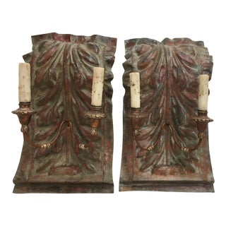 Custom Copper Acanthus Leaf Sconces - A Pair