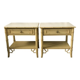 Thomasville Faux Bamboo Hollywood Regency Nightstands-a Pair For Sale