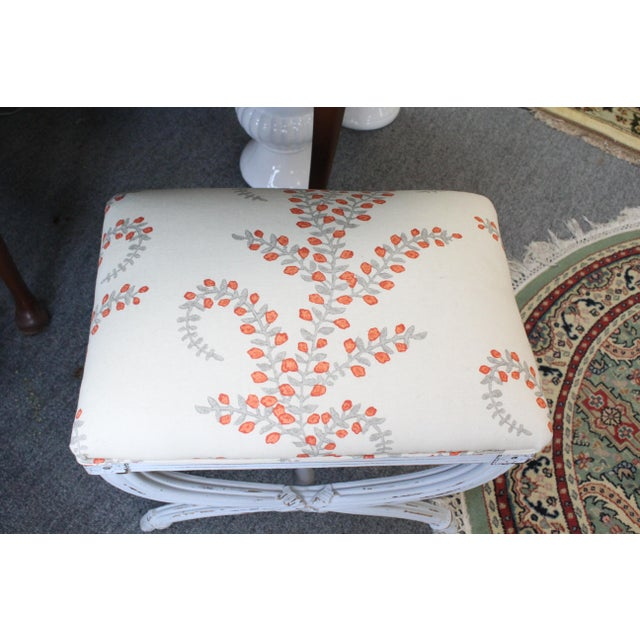 Boho Chic Late 20th Century Vintage Upholstered Stool For Sale - Image 3 of 5